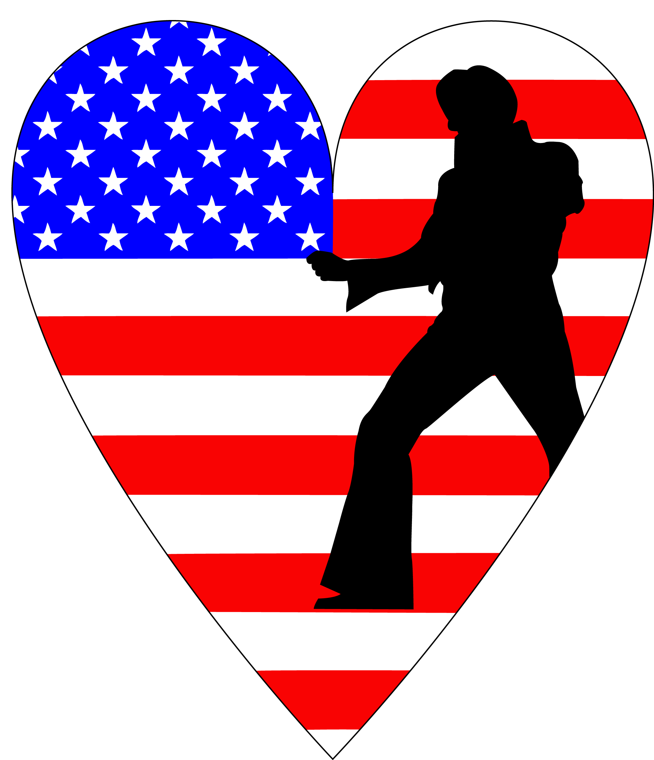 Elvis silhouette on American flag